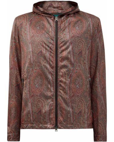 Нейлоновая коричневая куртка с капюшоном Etro