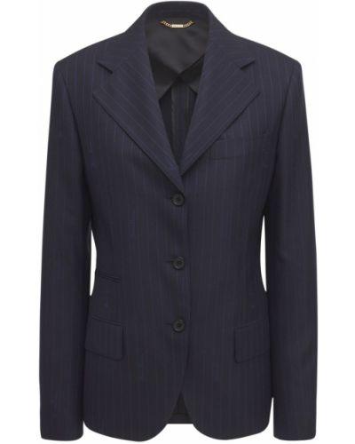 Шерстяной синий пиджак с карманами Versace