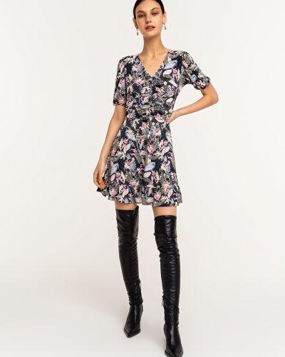 Приталенное платье мини в цветочный принт с драпировкой Befree