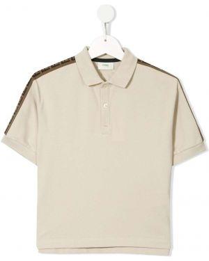 Асимметричная классическая рубашка на пуговицах Fendi Kids