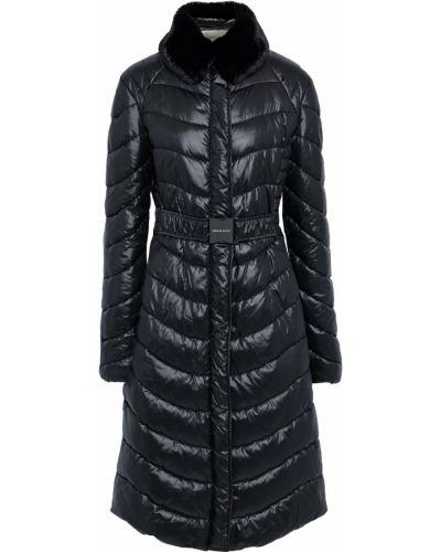 Черное стеганое пальто из искусственного меха Emilio Pucci