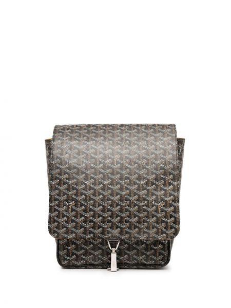 Czarny plecak srebrny z printem Goyard