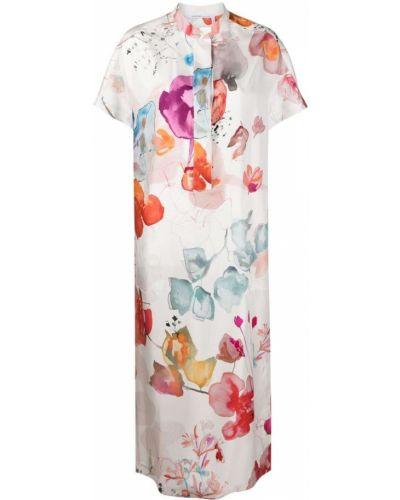 Платье мини в цветочный принт - белое Agnona