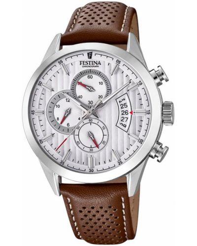 Brązowy zegarek sportowy srebrny Festina