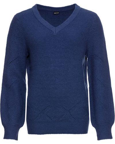 Темно-синий ажурный свитер Bonprix