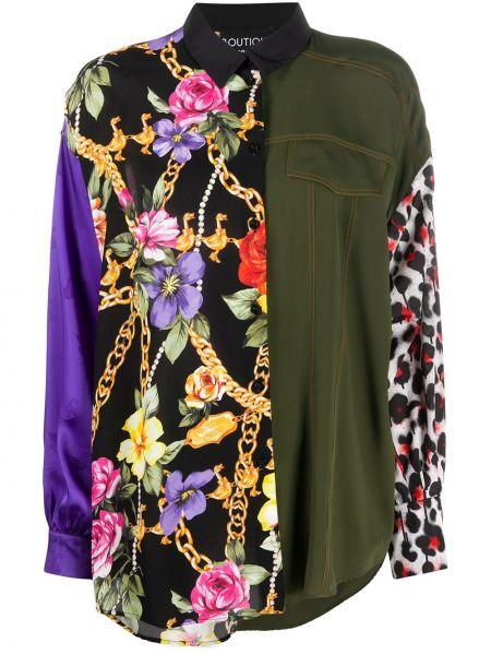 Классическая блузка с длинным рукавом с воротником с манжетами из вискозы Boutique Moschino