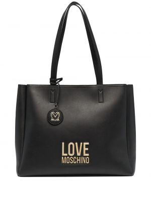Золотистая черная сумка шоппер на молнии Love Moschino
