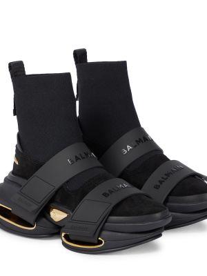 Czarne sneakersy zamszowe Balmain