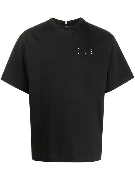 Bezpłatne cięcie bawełna prosto czarny koszula krótkie z krótkim rękawem Mcq Alexander Mcqueen