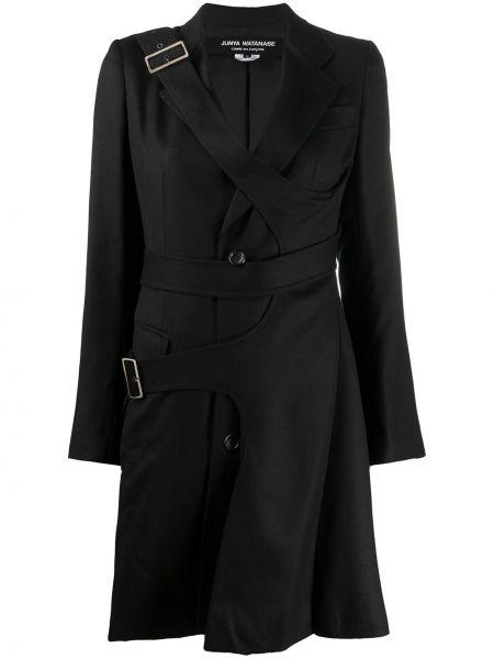 Шерстяное черное длинное пальто для полных Junya Watanabe