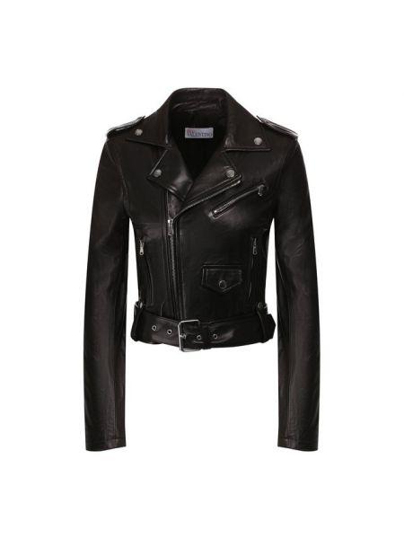 Кожаная куртка черная прямая Redvalentino