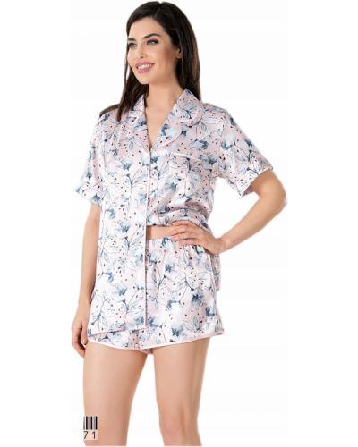 Różowa satynowa piżama krótki rękaw Vienetta