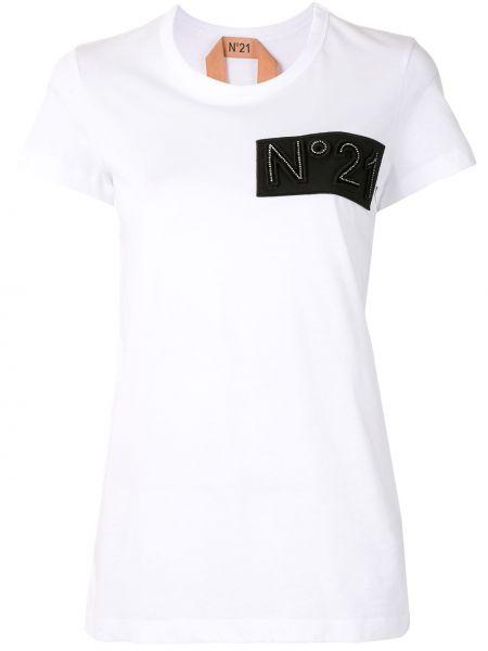 Хлопковая белая футболка с нашивками с круглым вырезом N°21