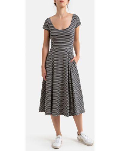Бежевое платье мини на пуговицах с рисунком с карманами La Redoute