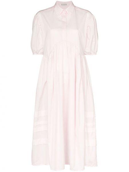 Sukienka midi różowa z rękawami Cecilie Bahnsen