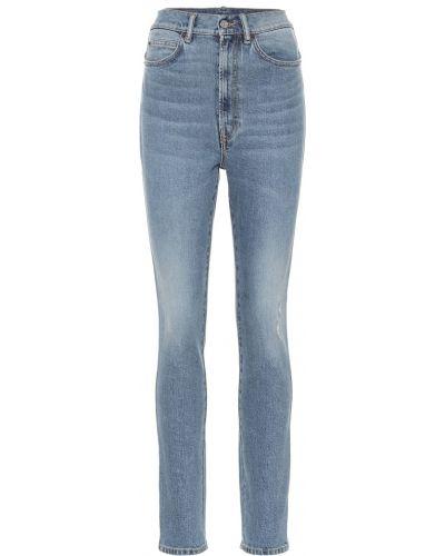 Bawełna niebieski jeansy na wysokości zabytkowe chudy Acne Studios
