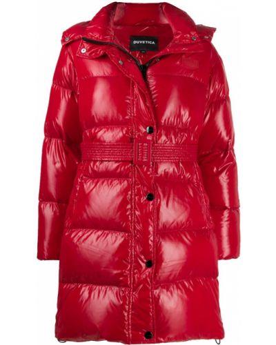 Пуховое длинное пальто с капюшоном с воротником Duvetica