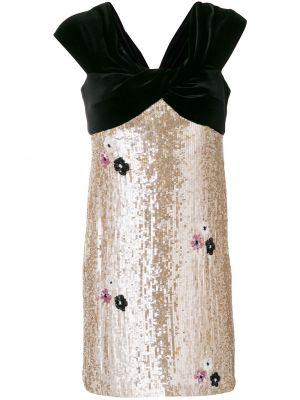 Золотистое шелковое платье с пайетками Talbot Runhof