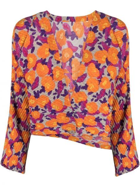 Długa kurtka w kwiaty z długimi rękawami z printem Issey Miyake
