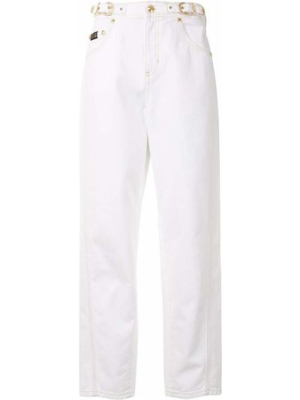 Прямые белые укороченные джинсы с карманами Versace Jeans Couture
