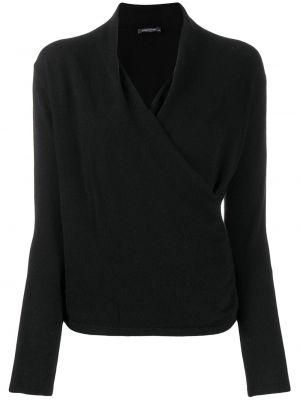 Черный свитер с запахом в рубчик Philo-sofie