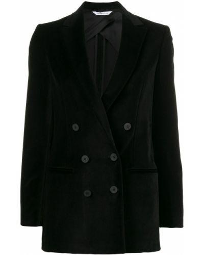 Черный приталенный удлиненный пиджак с карманами Tonello