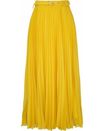 Шифоновая желтая плиссированная юбка миди Laroom