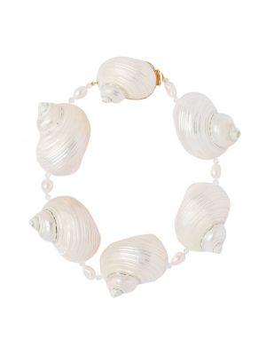 Biały choker srebrny perły Prada