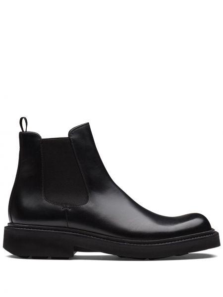 Włókienniczy czarny buty skórzane na pięcie plac Prada