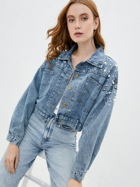 Джинсовая куртка осенняя синий Bad Queen