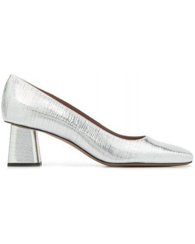 Серебряные туфли на каблуке с квадратным носком на каблуке Rayne