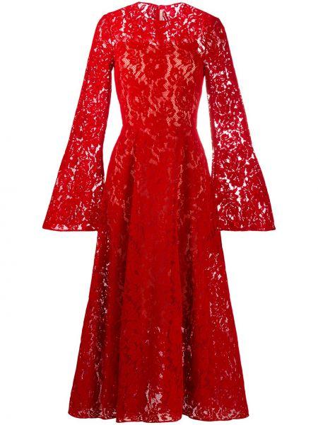 Włókienniczy ażurowy długo sukienka okrągły dekolt okrągły Christopher Kane