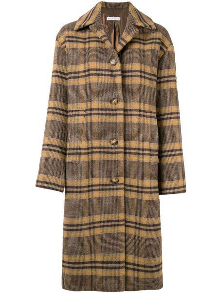 Коричневое длинное пальто с капюшоном из альпаки Rejina Pyo