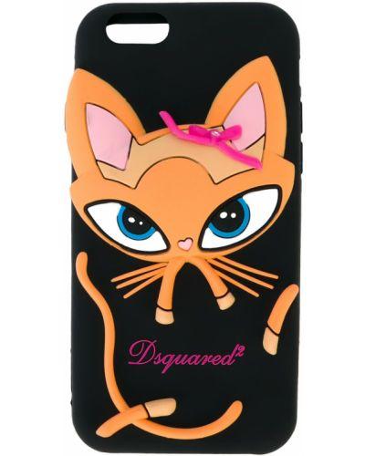 С кошками силиконовый розовый футляр для очков Dsquared2