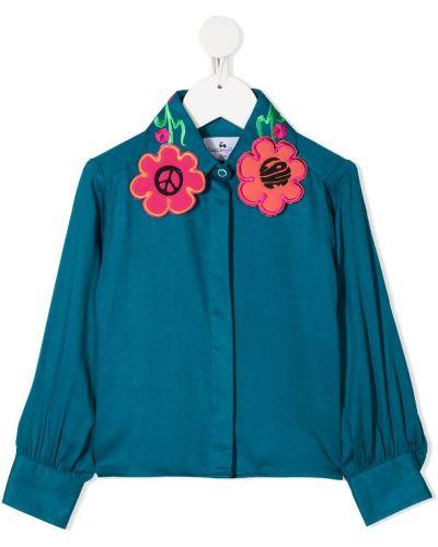 Синяя блуза из вискозы с манжетами на пуговицах Raspberry Plum