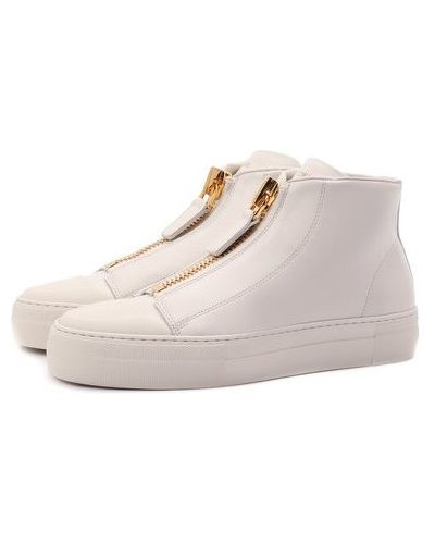 Кожаные кеды - белые Tom Ford