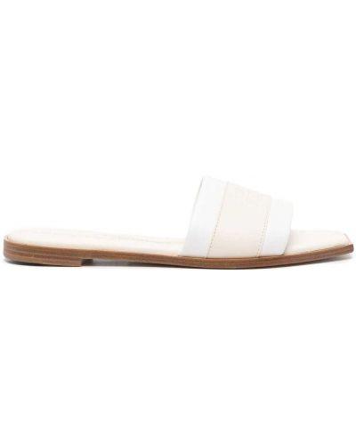 Białe sandały skorzane peep toe Alexander Mcqueen