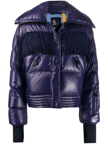 Фиолетовая куртка с бахромой на молнии с манжетами Moncler