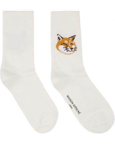 Ватные белые носки высокие стрейч жаккардовые Maison Kitsuné
