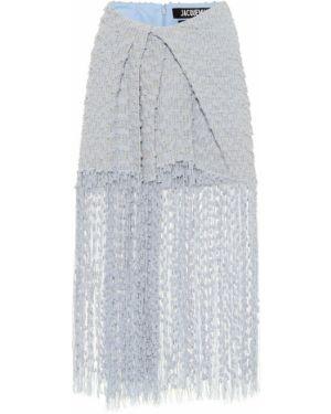 Ватная синяя теплая юбка из вискозы Jacquemus