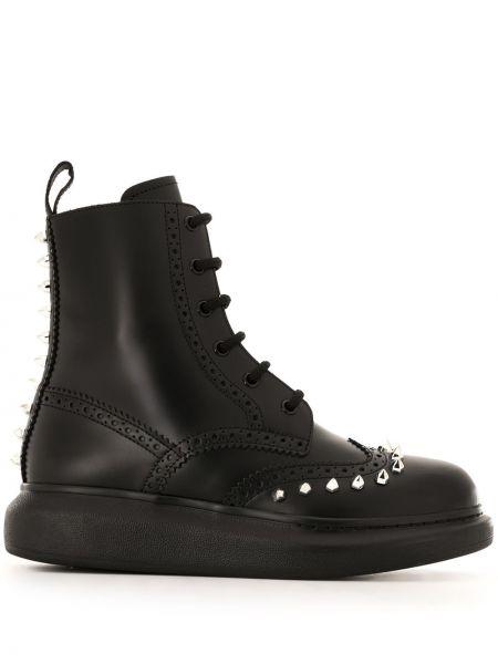 Ażurowy skórzany czarny buty na pięcie zasznurować Alexander Mcqueen