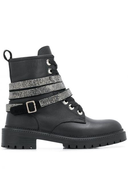 Кожаные черные сапоги на шнуровке с пряжкой Carvela