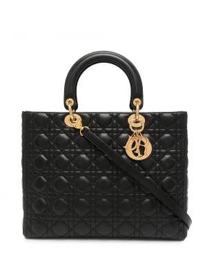 Czarna torba na ramię skórzana Christian Dior