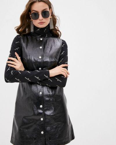 Кожаное черное джинсовое платье Calvin Klein Jeans