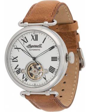 Zegarek na skórzanym pasku skórzany - brązowy Ingersoll Watches