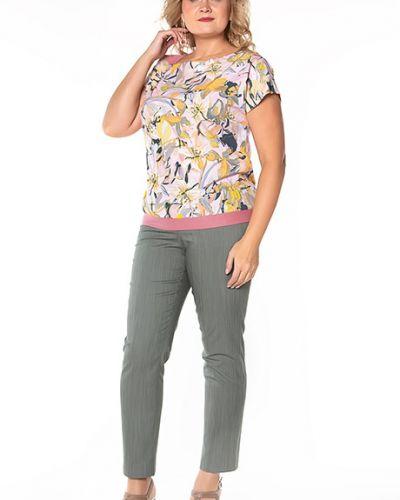 Блузка с коротким рукавом розовая с цветочным принтом Virgi Style
