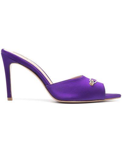 Fioletowe sandały skorzane klamry Murmur