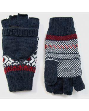 Темно-синие перчатки жаккардовые Ostin