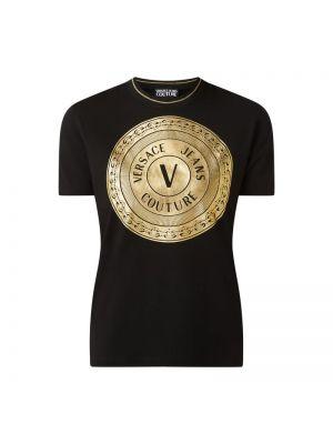 Złoty czarny koszula jeansowa z printem Versace Jeans Couture