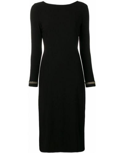 Черное прямое приталенное платье миди с вырезом Marcha